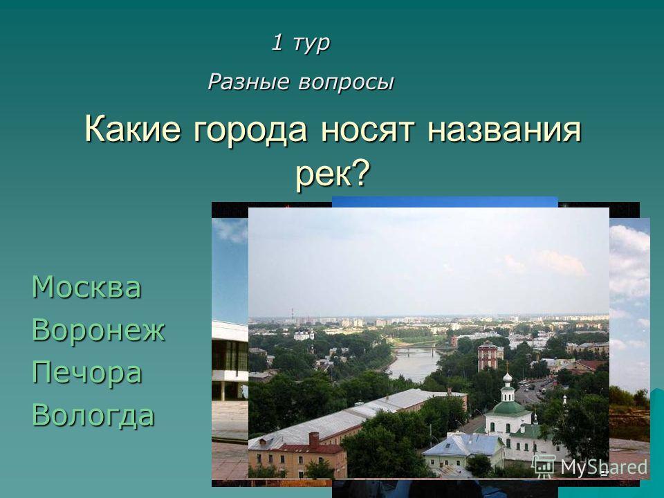 Какие города носят названия рек? МоскваВоронежПечораВологда 1 тур Разные вопросы
