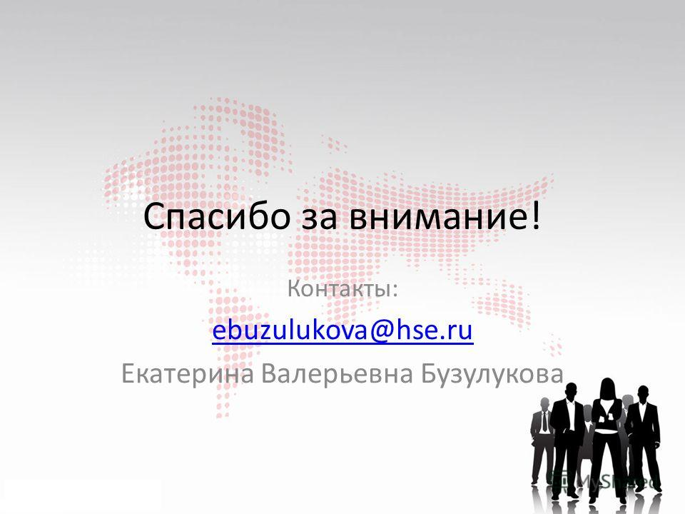 Спасибо за внимание! Контакты: ebuzulukova@hse.ru Екатерина Валерьевна Бузулукова