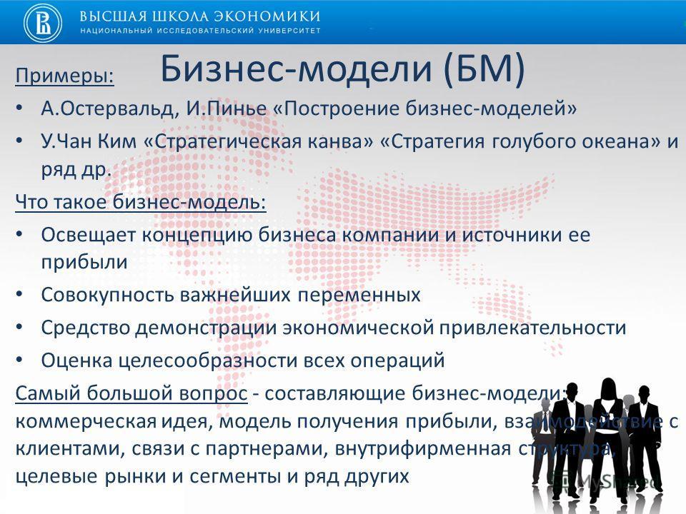 Бизнес-модели (БМ) Примеры: А.Остервальд, И.Пинье «Построение бизнес-моделей» У.Чан Ким «Стратегическая канва» «Стратегия голубого океана» и ряд др. Что такое бизнес-модель: Освещает концепцию бизнеса компании и источники ее прибыли Совокупность важн