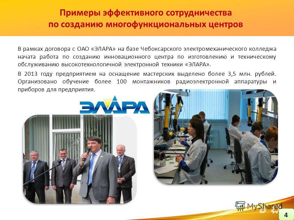 В рамках договора с ОАО «ЭЛАРА» на базе Чебоксарского электромеханического колледжа начата работа по созданию инновационного центра по изготовлению и техническому обслуживанию высокотехнологичной электронной техники «ЭЛАРА». В 2013 году предприятием