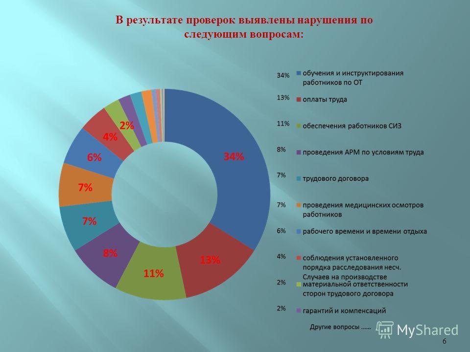 В результате проверок выявлены нарушения по следующим вопросам: 6