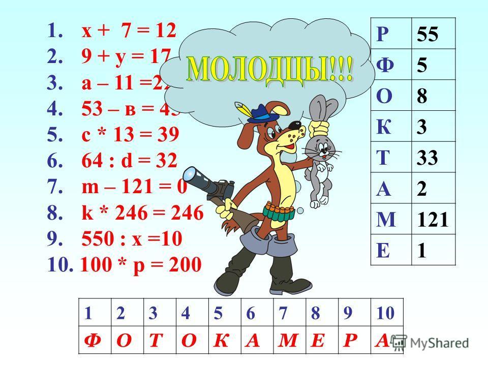 1. х + 7 = 12 2. 9 + у = 17 3. а – 11 =22 4. 53 – в = 45 5. с * 13 = 39 6. 64 : d = 32 7. m – 121 = 0 8. k * 246 = 246 9. 550 : х =10 10. 100 * р = 200 Р55 Ф5 О8 К3 Т33 А2 М121 Е1 12345678910 ФОТОКАМЕРА