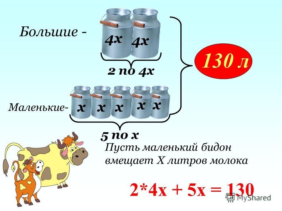 хх хх х 130 л 4х Большие - Маленькие- 2 по 4х 5 по х Пусть маленький бидон вмещает Х литров молока 2*4х + 5х = 130