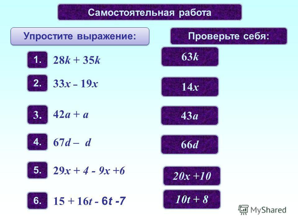 Самостоятельная работа Упростите выражение: Проверьте себя: 1. 28k + 35k 2.2. 33x – 19x 3.3. 42a + a 4.4. 67d – d 5.5. 29x + 4 - 9х +6 6.6. 15 + 16t - 6t -7 63k 14x 43a 66d 20х +10 10t + 8