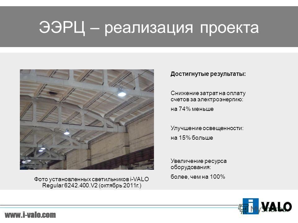 www.i-valo.com ЭЭРЦ – реализация проекта Снижение затрат на оплату счетов за электроэнергию: на 74% меньше Улучшение освещенности: на 15% больше Увеличение ресурса оборудования: более, чем на 100% Достигнутые результаты: Фото установленных светильник