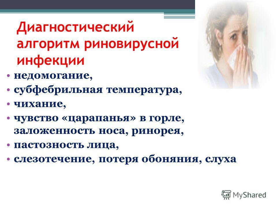 недомогание, субфебрильная температура, чихание, чувство «царапанья» в горле, заложенность носа, ринорея, пастозность лица, слезотечение, потеря обоняния, слуха Диагностический алгоритм риновирусной инфекции