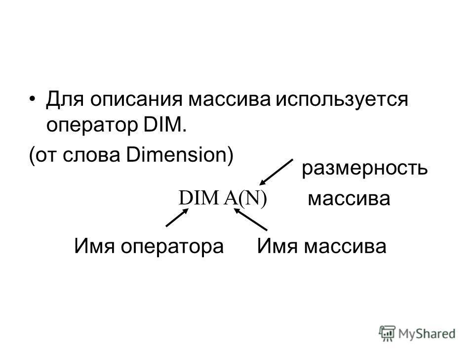 Для описания массива используется оператор DIM. (от слова Dimension) DIM A(N) Имя оператораИмя массива размерность массива