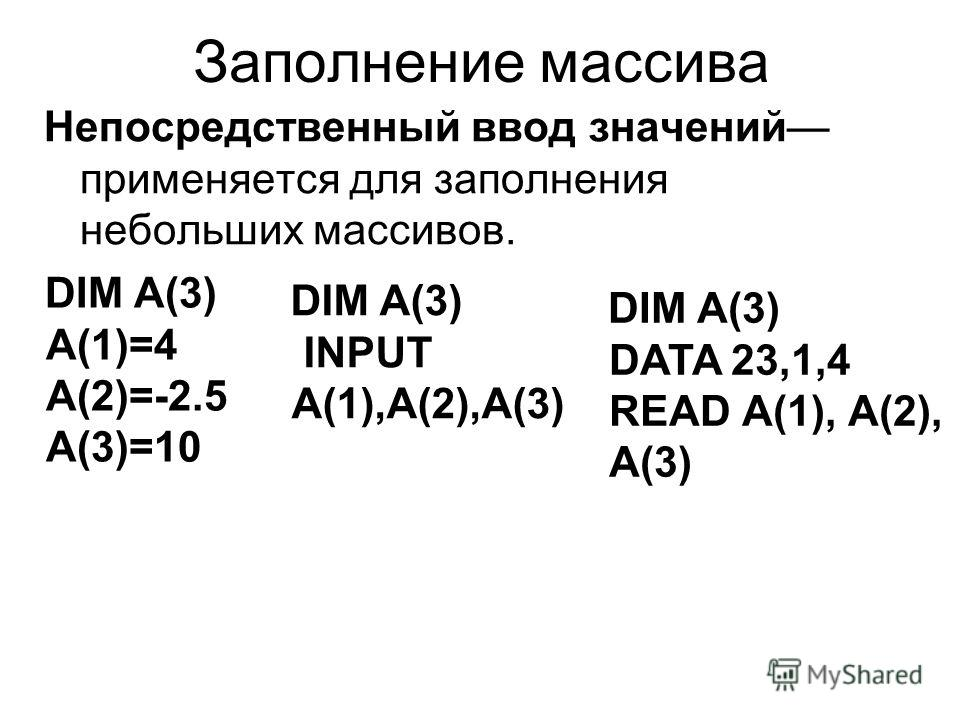 Заполнение массива Непосредственный ввод значений применяется для заполнения небольших массивов. DIM A(3) А(1)=4 А(2)=-2.5 А(3)=10 DIM A(3) INPUT A(1),A(2),A(3) DIM A(3) DATA 23,1,4 READ А(1), А(2), А(3)