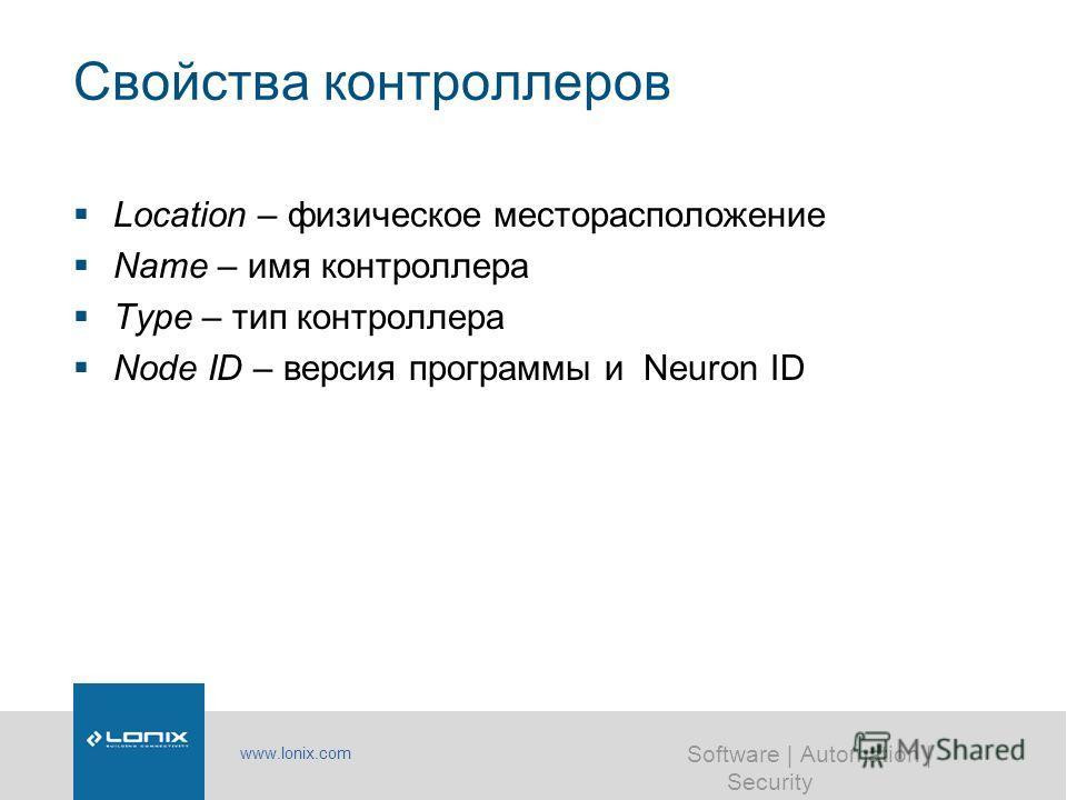 www.lonix.com Software | Automation | Security Свойства контроллеров Location – физическое месторасположение Name – имя контроллера Type – тип контроллера Node ID – версия программы и Neuron ID
