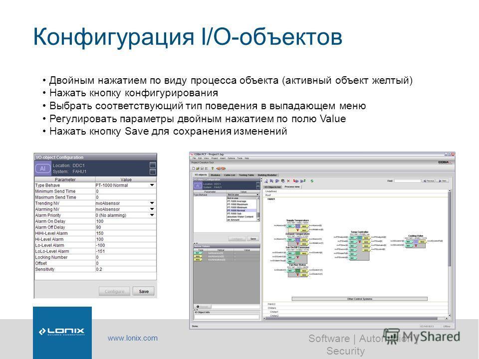 www.lonix.com Software | Automation | Security Конфигурация I/O-объектов Двойным нажатием по виду процесса объекта (активный объект желтый) Нажать кнопку конфигурирования Выбрать соответствующий тип поведения в выпадающем меню Регулировать параметры