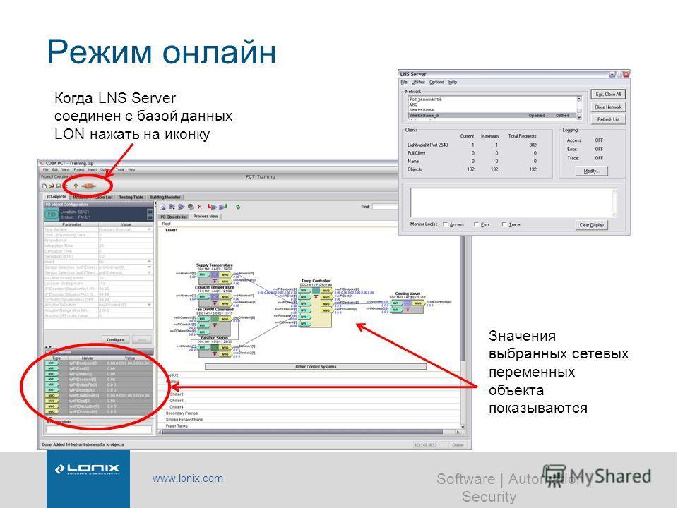 www.lonix.com Software | Automation | Security Режим онлайн Когда LNS Server соединен с базой данных LON нажать на иконку Значения выбранных сетевых переменных объекта показываются