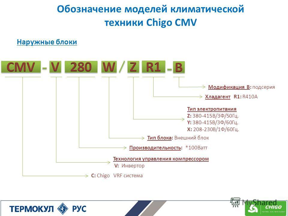 Обозначение моделей климатической техники Chigo CMV Модификация B: подсерия Хладагент R1: R410A Технология управления компрессором V: Инвертор Тип блока: Внешний блок C: Chigo VRF система Тип электропитания Z: 380-415В/3Ф/50Гц. Y: 380-415В/3Ф/60Гц. X