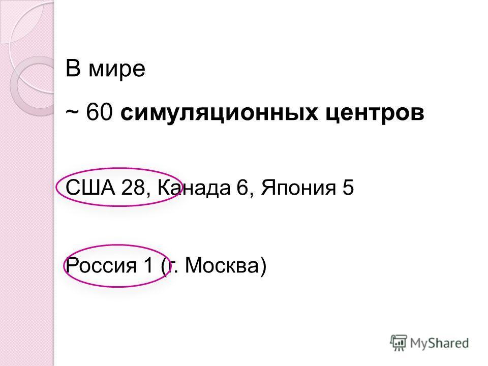 В мире ~ 60 симуляционных центров США 28, Канада 6, Япония 5 Россия 1 (г. Москва)