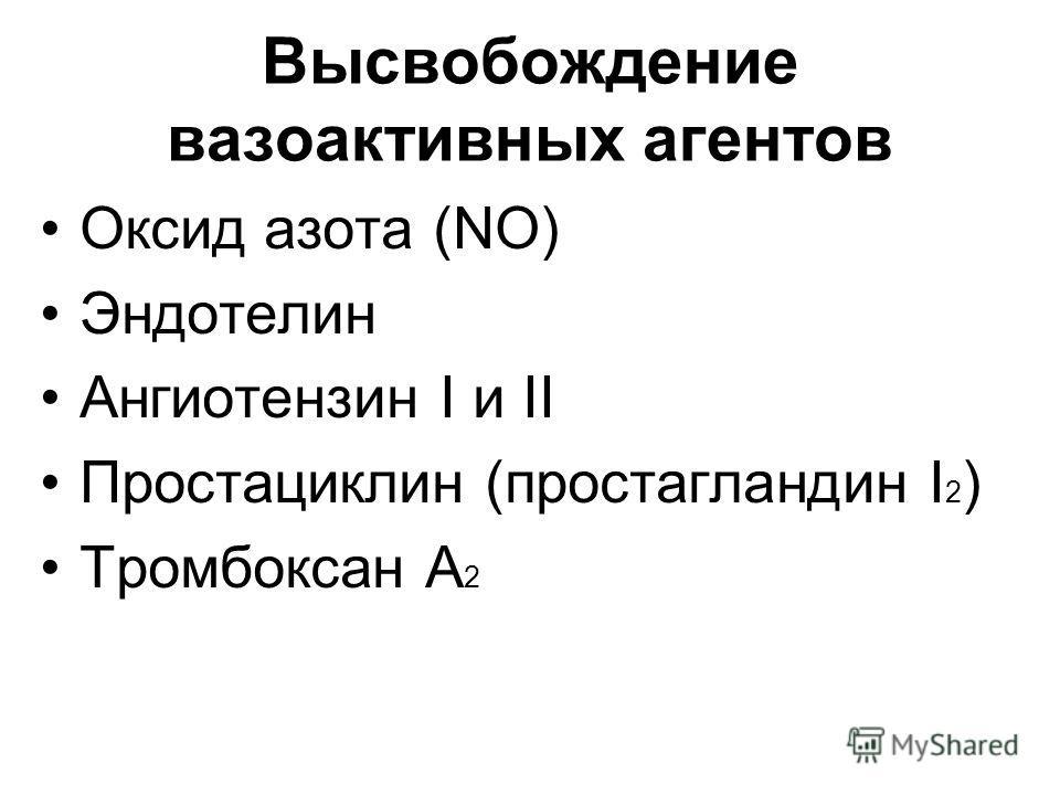Высвобождение вазоактивных агентов Оксид азота (NO) Эндотелин Ангиотензин I и II Простациклин (простагландин I 2 ) Тромбоксан А 2