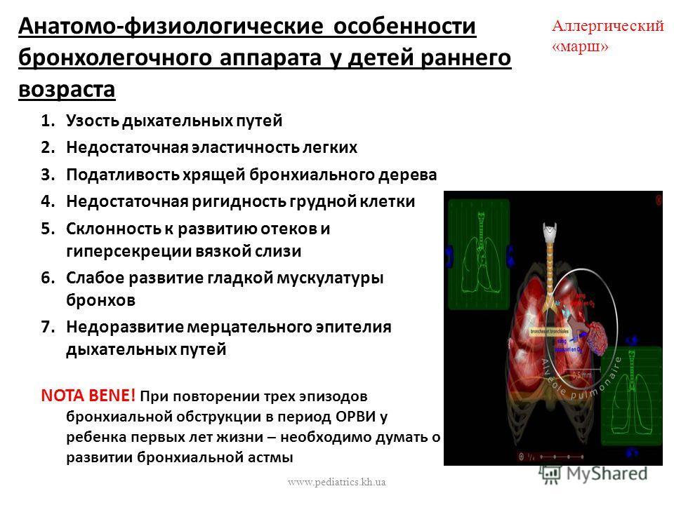 Анатомо-физиологические особенности бронхолегочного аппарата у детей раннего возраста 1.Узость дыхательных путей 2.Недостаточная эластичность легких 3.Податливость хрящей бронхиального дерева 4.Недостаточная ригидность грудной клетки 5.Склонность к р