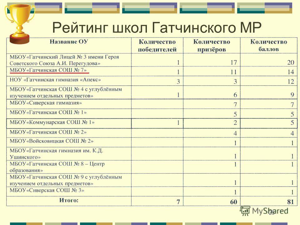 Рейтинг школ Гатчинского МР 25