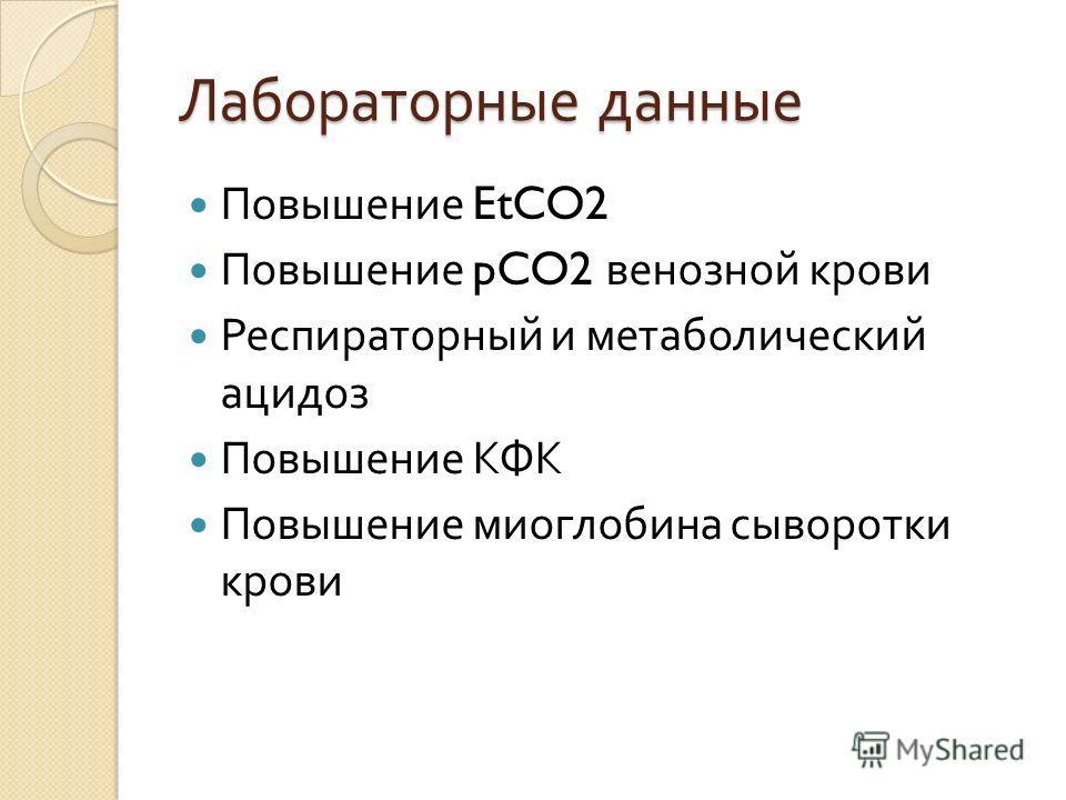 Лабораторные данные Повышение EtCO2 Повышение pCO2 венозной крови Респираторный и метаболический ацидоз Повышение КФК Повышение миоглобина сыворотки крови