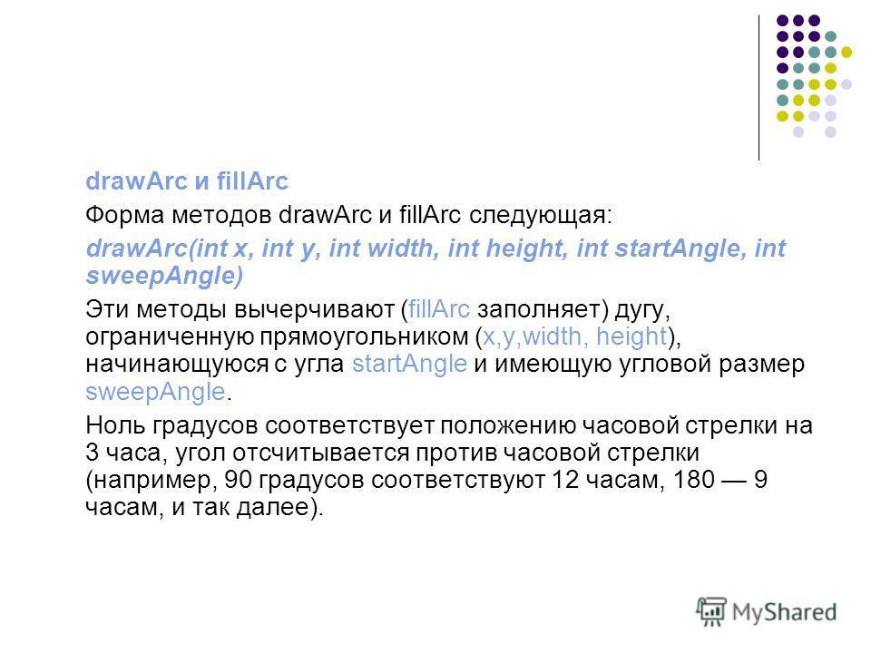 drawArc и fillArc Форма методов drawArc и fillArc следующая: drawArc(int x, int у, int width, int height, int startAngle, int sweepAngle) Эти методы вычерчивают (fillArc заполняет) дугу, ограниченную прямоугольником (x,y,width, height), начинающуюся