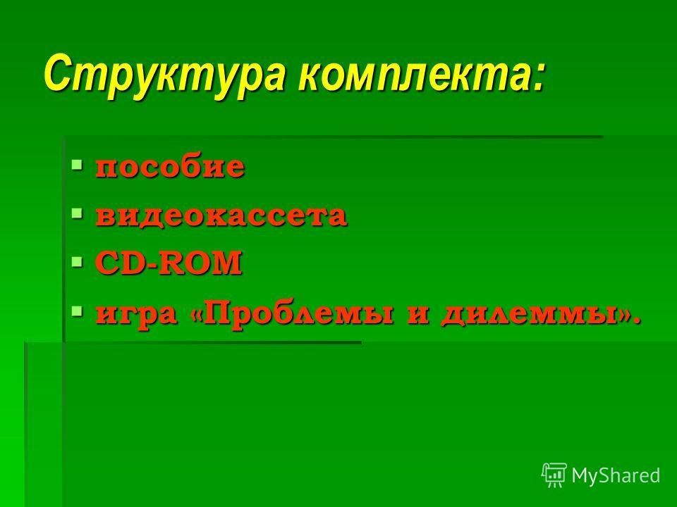 Структура комплекта: пособие пособие видеокассета видеокассета CD-ROM CD-ROM игра «Проблемы и дилеммы». игра «Проблемы и дилеммы».