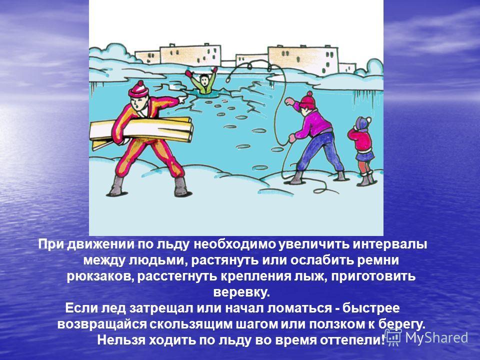 При движении по льду необходимо увеличить интервалы между людьми, растянуть или ослабить ремни рюкзаков, расстегнуть крепления лыж, приготовить веревку. Если лед затрещал или начал ломаться - быстрее возвращайся скользящим шагом или ползком к берегу.