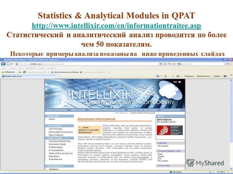 Statistics & Analytical Modules in QPAT http://www.intellixir.com/en/informationtraitee.asp Статистический и аналитический анализ проводится по более чем 50 показателям. Некоторые примеры анализа показаны на ниже приведенных слайдах