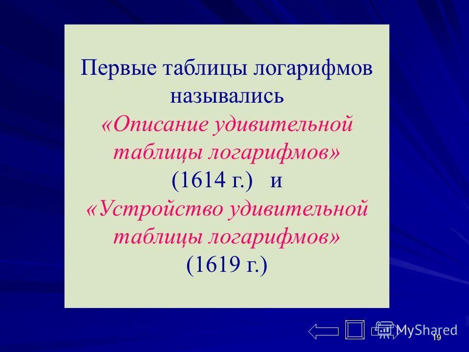 19 Первые таблицы логарифмов назывались «Описание удивительной таблицы логарифмов» (1614 г.) и «Устройство удивительной таблицы логарифмов» (1619 г.)