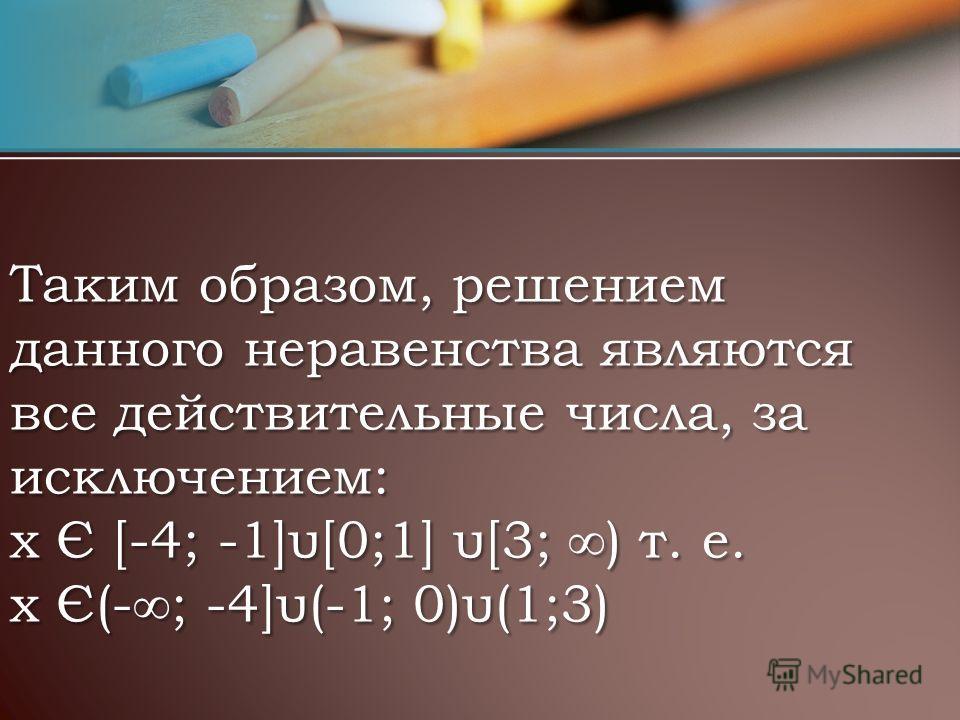 Таким образом, решением данного неравенства являются все действительные числа, за исключением: х Є [-4; -1]υ[0;1] υ[3; ) т. е. х Є(-; -4]υ(-1; 0)υ(1;3)