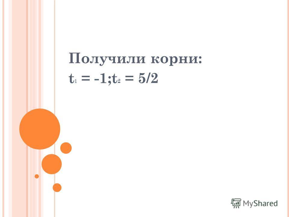 Получили корни: t 1 = -1;t 2 = 5/2