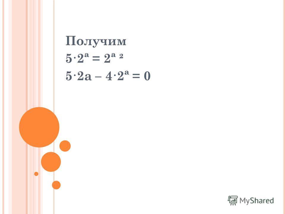 Получим 5·2ª = 2ª ² 5·2a – 4·2ª = 0