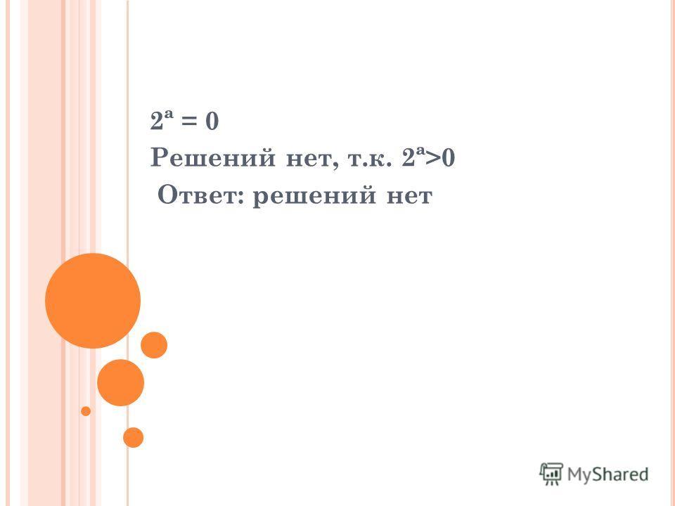 2ª = 0 Решений нет, т.к. 2ª>0 Ответ: решений нет