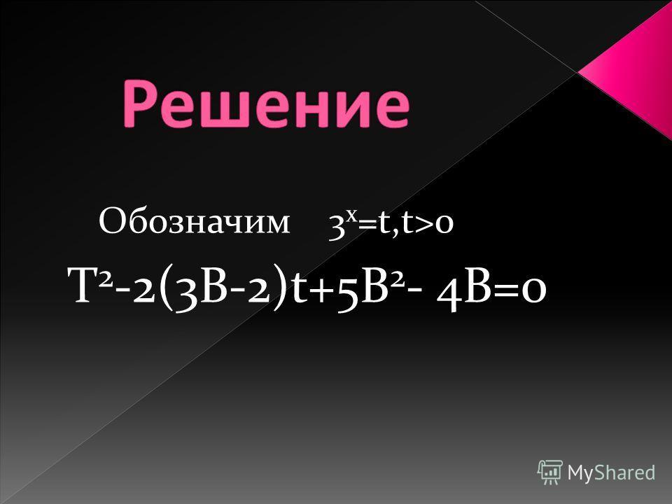 Обозначим 3 х =t,t>0 T 2 -2(3В-2)t+5В 2 - 4В=0