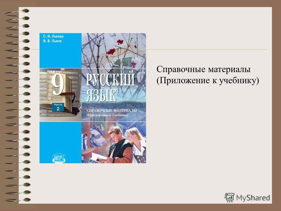 Справочные материалы (Приложение к учебнику)