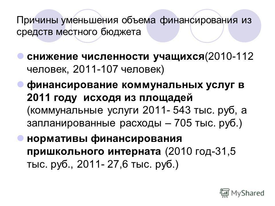 Причины уменьшения объема финансирования из средств местного бюджета снижение численности учащихся(2010-112 человек, 2011-107 человек) финансирование коммунальных услуг в 2011 году исходя из площадей (коммунальные услуги 2011- 543 тыс. руб, а заплани