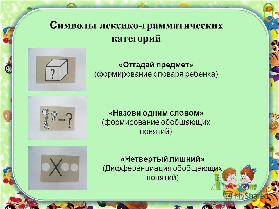 «Отгадай предмет» (формирование словаря ребенка) «Назови одним словом» (формирование обобщающих понятий) «Четвертый лишний» (Дифференциация обобщающих понятий) С имволы лексико-грамматических категорий