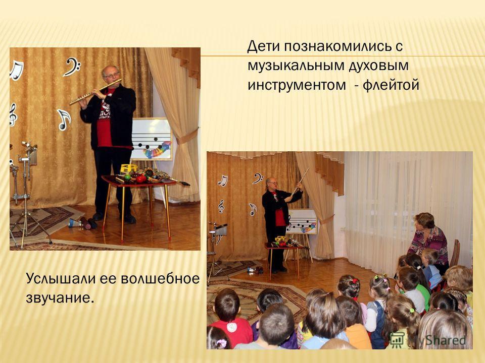 Дети познакомились с музыкальным духовым инструментом - флейтой Услышали ее волшебное звучание.