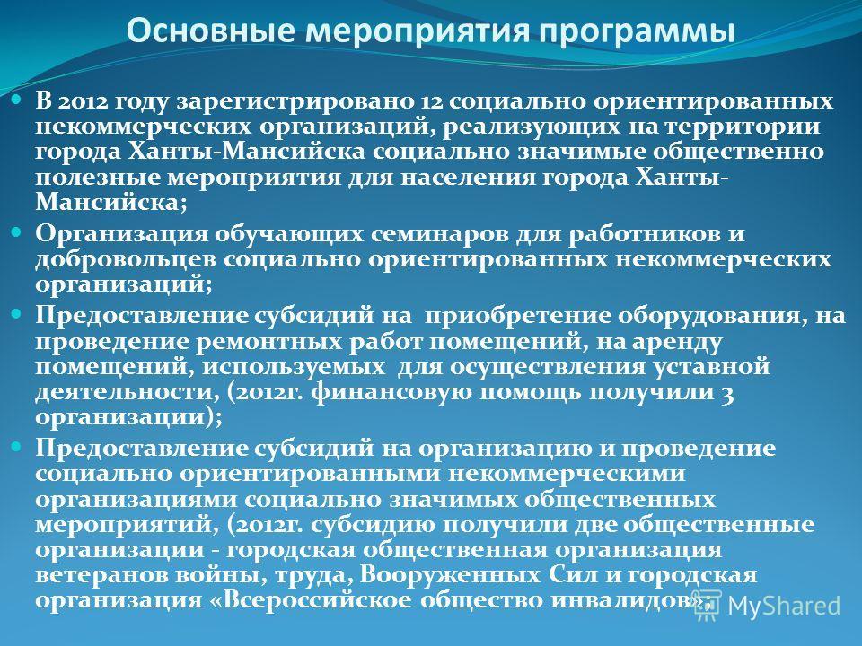 Основные мероприятия программы В 2012 году зарегистрировано 12 социально ориентированных некоммерческих организаций, реализующих на территории города Ханты-Мансийска социально значимые общественно полезные мероприятия для населения города Ханты- Манс
