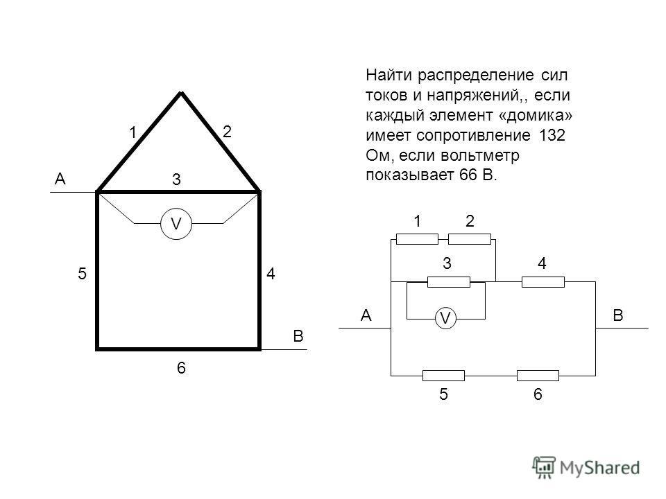 Найти распределение сил токов и напряжений,, если каждый элемент «домика» имеет сопротивление 132 Ом, если вольтметр показывает 66 В. А В V 1 5 3 6 4 2 АВ 56 21 V 4 3