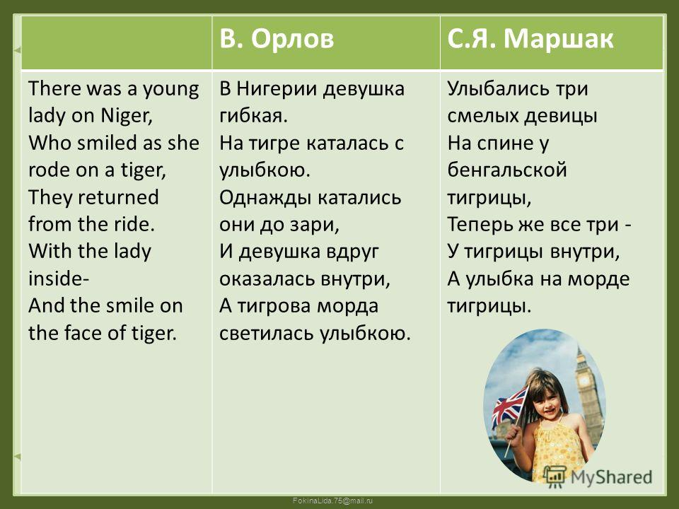 FokinaLida.75@mail.ru В. ОрловС.Я. Маршак There was a young lady on Niger, Who smiled as she rode on a tiger, They returned from the ride. With the lady inside- And the smile on the face of tiger. В Нигерии девушка гибкая. На тигре каталась с улыбкою