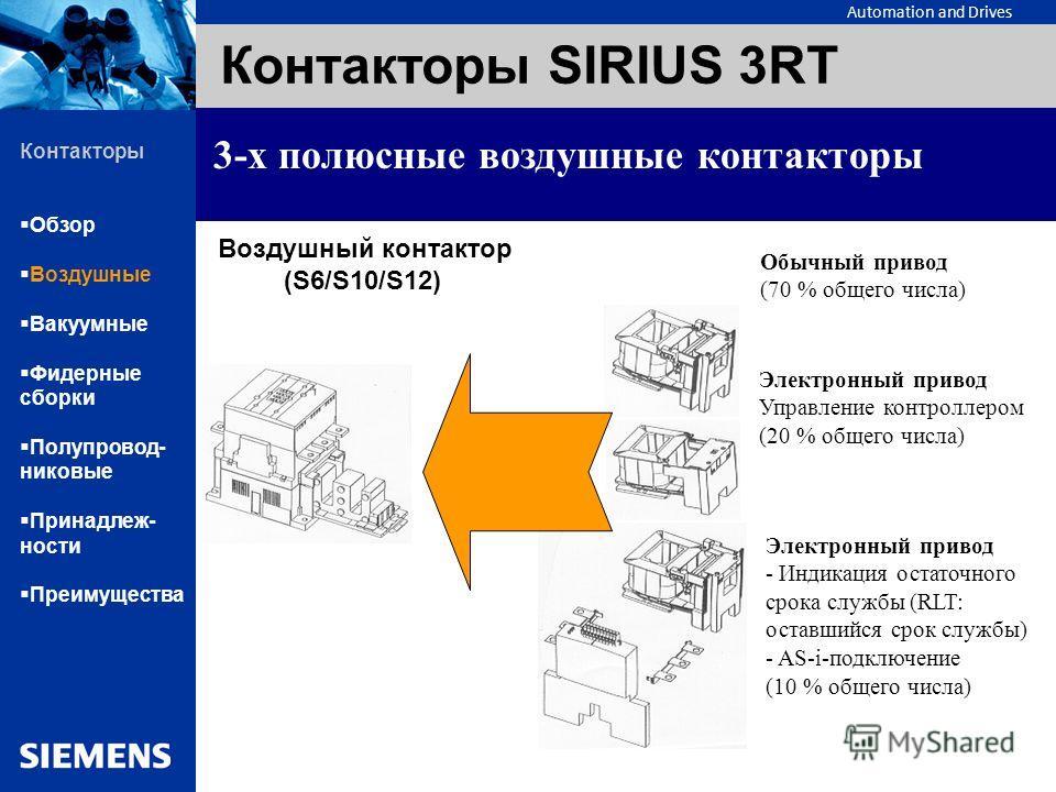 Automation and Drives Контакторы SIRIUS 3RT 3-х полюсные воздушные контакторы Воздушный контактор (S6/S10/S12) Обычный привод (70 % общего числа) Электронный привод Управление контроллером (20 % общего числа) Электронный привод -Индикация остаточного