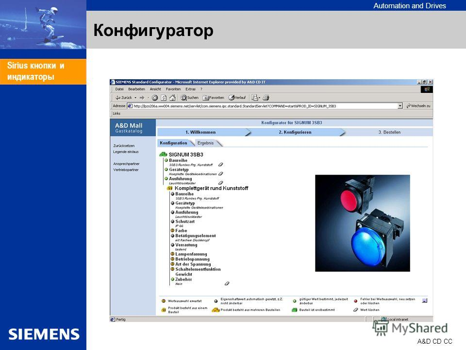 Automation and Drives A&D CD CC Sirius кнопки и индикаторы Конфигуратор