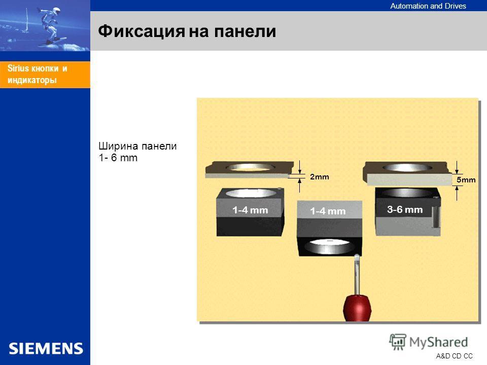 Automation and Drives A&D CD CC Sirius кнопки и индикаторы Фиксация на панели 1-4 mm 3-6 mm 2mm 5mm Ширина панели 1- 6 mm