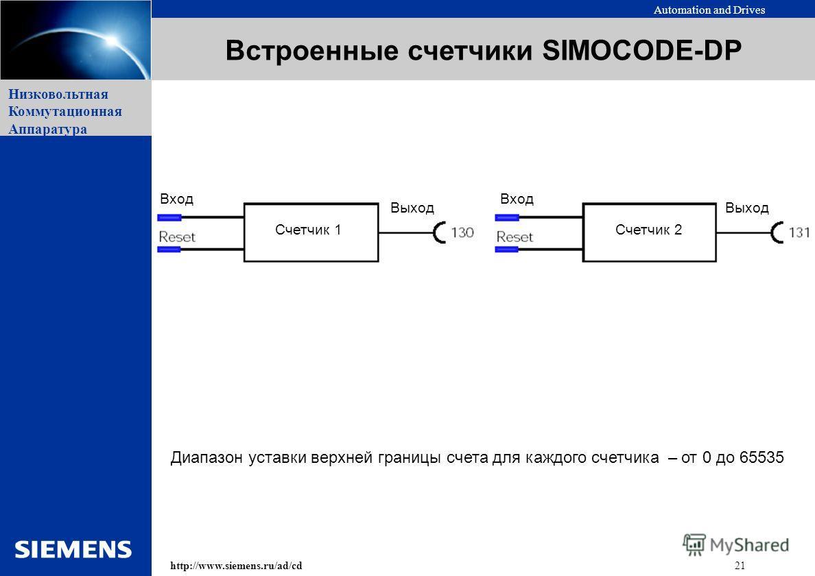 Automation and Drives 21http://www.siemens.ru/ad/cd Низковольтная Коммутационная Аппаратура Встроенные счетчики SIMOCODE-DP Выход Вход Счетчик 2Счетчик 1 Диапазон уставки верхней границы счета для каждого счетчика – от 0 до 65535