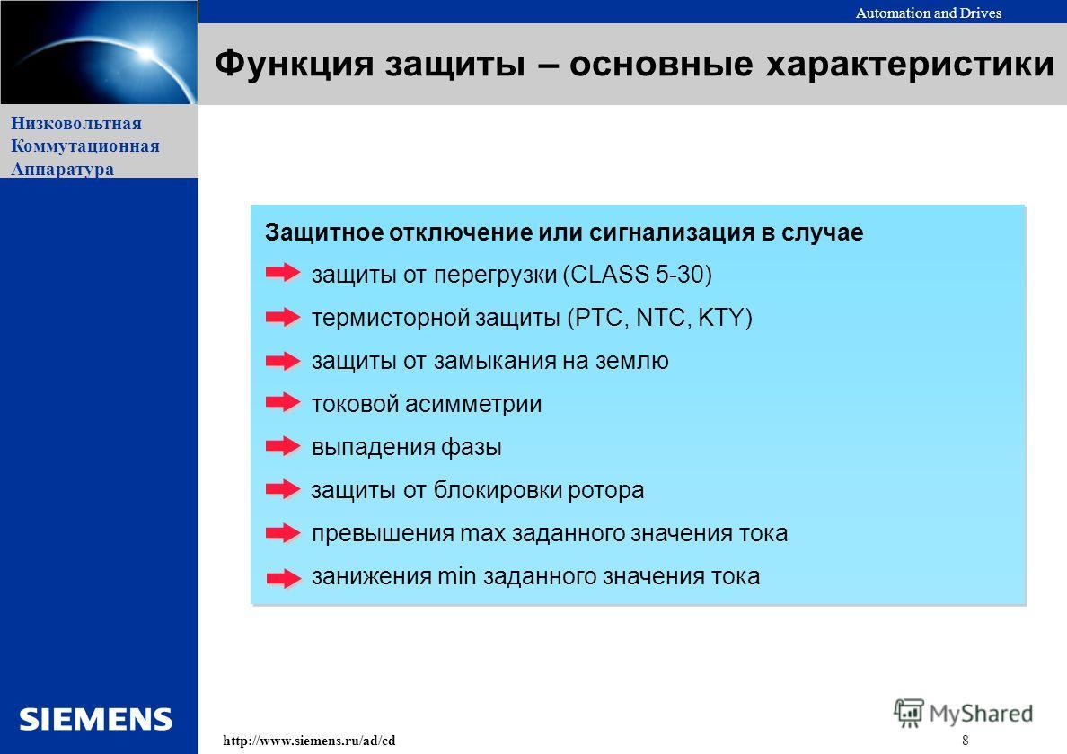 Automation and Drives 8http://www.siemens.ru/ad/cd Низковольтная Коммутационная Аппаратура Защитное отключение или сигнализация в случае защиты от перегрузки (CLASS 5-30) термисторной защиты (PTC, NTC, KTY) защиты от замыкания на землю токовой асимме