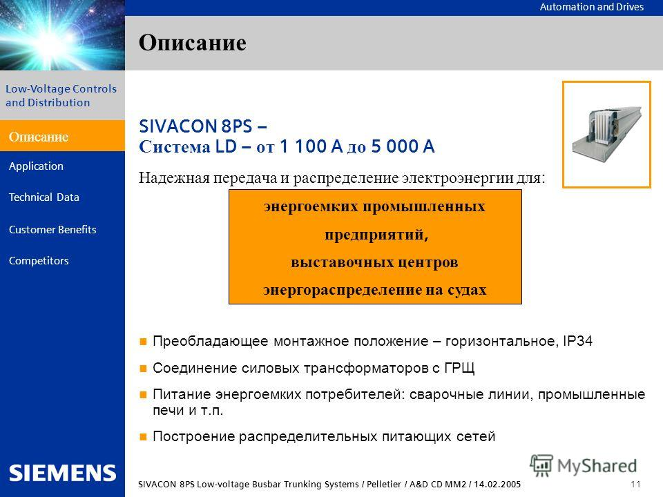 Automation and Drives SIVACON 8PS Low-voltage Busbar Trunking Systems / Pelletier / A&D CD MM2 / 14.02.2005 11 Description Application Technical Data Customer Benefits Competitors Low-Voltage Controls and Distribution Описание SIVACON 8PS – Система L