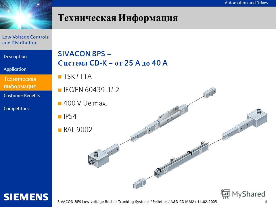 Automation and Drives SIVACON 8PS Low-voltage Busbar Trunking Systems / Pelletier / A&D CD MM2 / 14.02.2005 6 Description Application Technical Data Customer Benefits Competitors Low-Voltage Controls and Distribution Техническая Информация Техническа