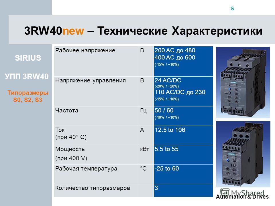 s Automation & Drives SIRIUS УПП 3RW40 Типоразмеры S0, S2, S3 3RW40new – Технические Характеристики Рабочее напряжениеВ200 AC до 480 400 AC до 600 (-15% / +10%) Напряжение управленияВ24 AC/DC (-20% / +20%) 110 AC/DC до 230 (-15% / +10%) ЧастотаГц50 /