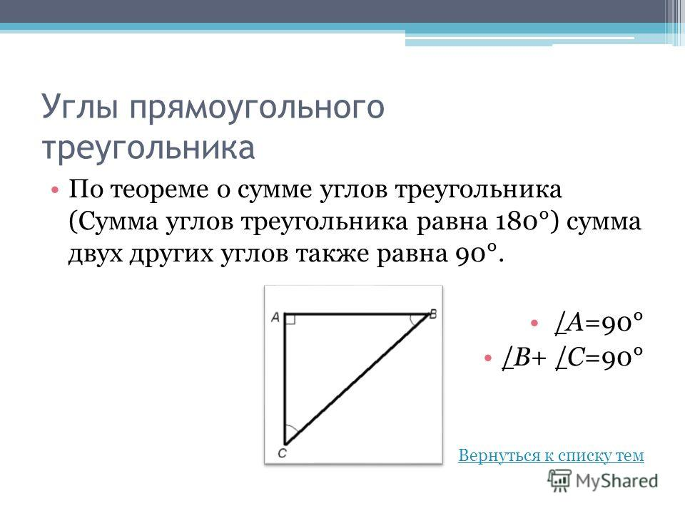 Углы прямоугольного треугольника По теореме о сумме углов треугольника (Сумма углов треугольника равна 180°) сумма двух других углов также равна 90°. /А=90° /В+ /С=90° Вернуться к списку тем