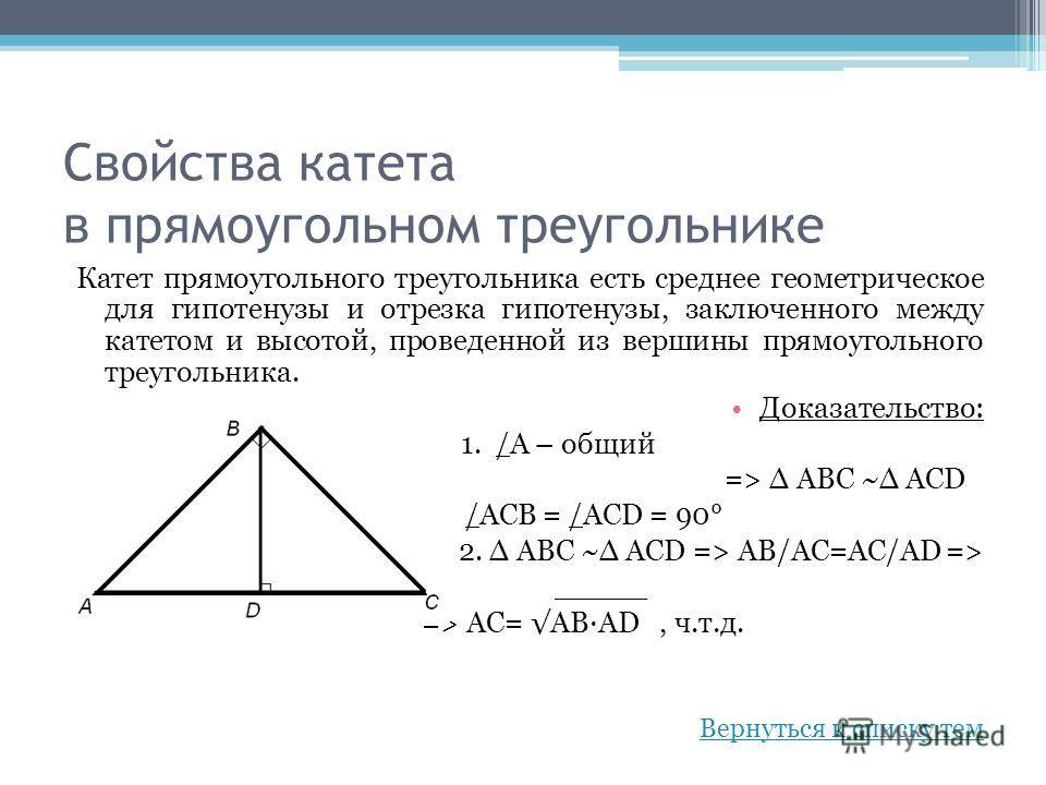 Свойства катета в прямоугольном треугольнике Катет прямоугольного треугольника есть среднее геометрическое для гипотенузы и отрезка гипотенузы, заключенного между катетом и высотой, проведенной из вершины прямоугольного треугольника. Доказательство:
