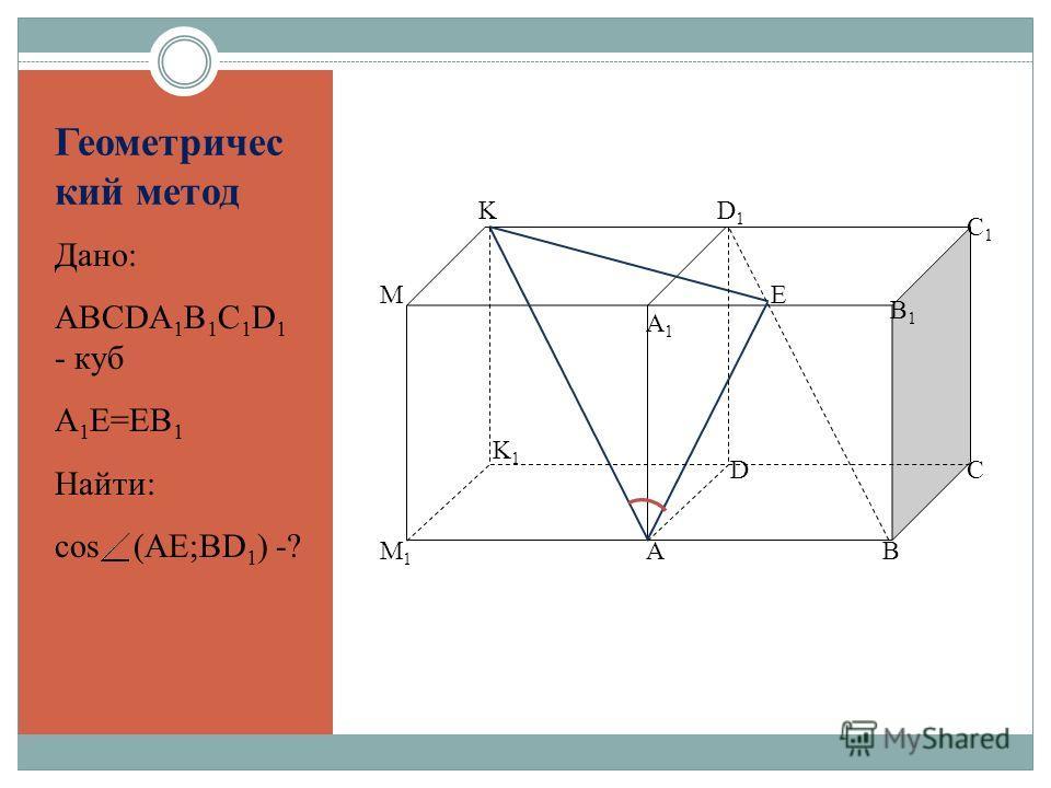 Геометричес кий метод Дано: ABCDA 1 B 1 C 1 D 1 - куб A 1 E=EB 1 Найти: cos (AE;BD 1 ) -? AB K1K1 A1A1 CD K M M1M1 B1B1 C1C1 D1D1 E