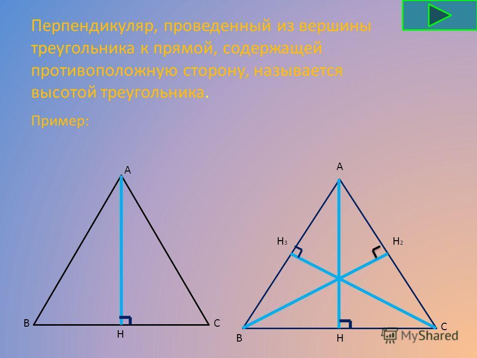 Перпендикуляр, проведенный из вершины треугольника к прямой, содержащей противоположную сторону, называется высотой треугольника. СВ А Н А С ВН Н2Н2 Н3Н3 Пример: